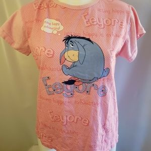 Women's Pink Disney Eeyore Pajama Shirt Size Small